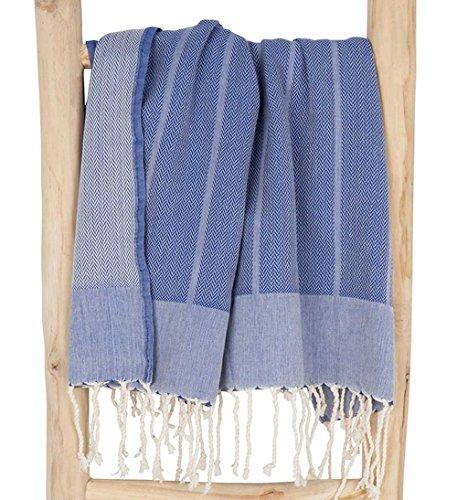 ZusenZomer Fouta Hamamtuch PLAYA 100x190 Jeans Blau - Hammam Badetuch Saunatuch mit Eleganten Fischgrat-Gewebe 100% Baumwolle - Exclusives Design Hamam Tücher