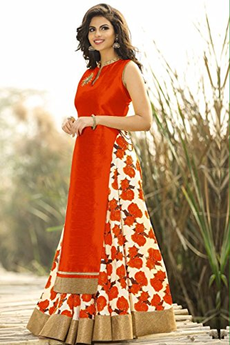 Spangel Fashion Festive Collection New Fancy Red And White Flower Print Indo...