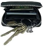 PREMIUM 3in1 Echt Leder Geldbörse Schlüsseletui Kredit-Karten-Etui Schlüsselmäppchen Schlüsseltasche Schlüsselanhänger RFID Schutz klein mini Portmonee Portemonnaie Brieftasche Reißverschluß schwarz