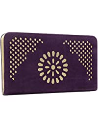 Yazlyn Collection Women'S Wallet, clutches for ladies and girls, stylish designer and attractive, premium quality material purple colour