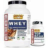 Kit composé de isolat protéique de lactosérum et hydrolysé (750 grammes de goût de cacao) et acides aminés branchés...