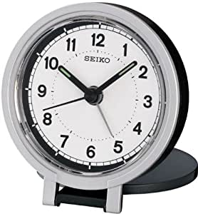 Seiko QHT011K Travel Alarm Clock, White/ Black