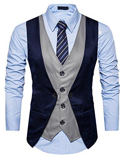 Ycheng uomo 4 button falso due pezzi abito sposa classico gilet abbigliamento casual fumante sottile suit vest blu xl
