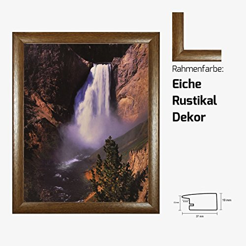 Kunstdruck Wasserfall am Berg Natur Landschaftsmotiv Fotografie Natur 40 x 50 cm mit MDF-Bilderrahmen Pisa & Acrylglas reflexfrei, viele Farben zur Auswahl, hier Eiche Rustikal Dekor -
