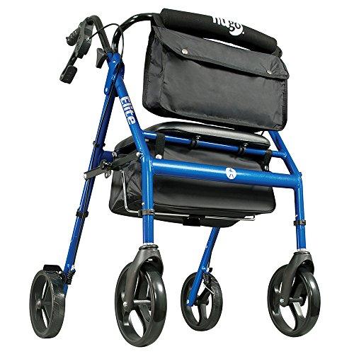 Hugo Elite Rollator Walker with Seat, Backrest and Saddle Bag, Blue by Hugo Mobility