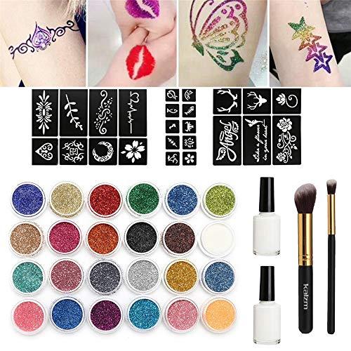 99AMZ Kit de Tatuajes Temporales Tatuaje de Brillo con 24 Colores 118 Hojas Plantilla de Tatuaje 2 pegamentos 2 pinceles Suministros para Falso Tatuajes Mujer para la fiesta de Halloween (Nuevos)