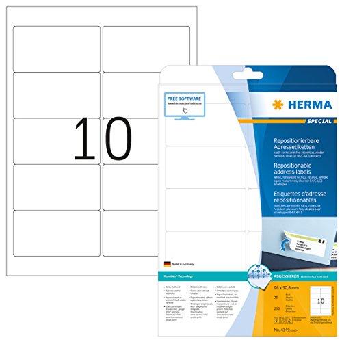 Herma 4349 Adressetiketten ablösbar, wieder haftend (96 x 50,8 mm) weiß, 250 Adressaufkleber, 25 Blatt DIN A4 Papier matt, bedruckbar, selbstklebend