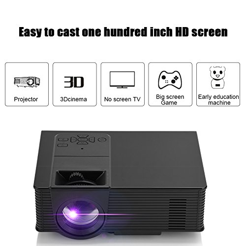 Zerone Mini Home 1080P HDMI Projector Protable LED Projector Multifunctional Video Projector Support Wifi Bluetooth Android Black