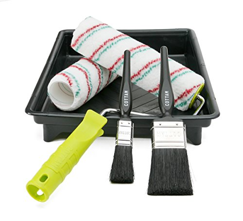 paint-roller-and-paintbrush-set-includes-9-228-mm-tray-frame-2-x-polyester-paintroller-sleeves-and-2