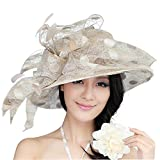 June's Young Damen-Hüte Organzahut Sommer Hut Sonnenhut eleganter Hut mit Stein Schmuck Schleife Blumen