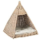 Me & My Pets Wicker Teepee Bed for Cats and Small Dogs