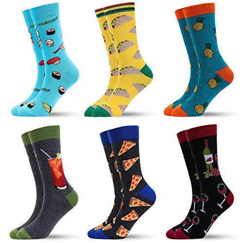 JORYEE Herren Socken Bunt - Baumwolle Socken Herren Gemusterte Socken Muster Lustige Socken Modische Socken Mehrfarbig Gemälde Kunst Verrückte Socken 38-45 (Pissa) (7 11 Mitarbeiter Kostüm)