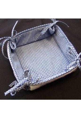 Corbeille à pain - bleu - blanc à carreaux - broderie - cœur -