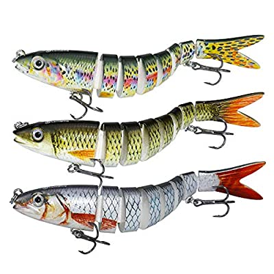 Larruping Fishing Lures Bass Lures Multi Jointed Hard Treble Fishing Hooks Artificial Bait Segment Swimbaits Lures Slow Sinking Lure Fishing Kit for Bass Trout Perch (5.3inch)