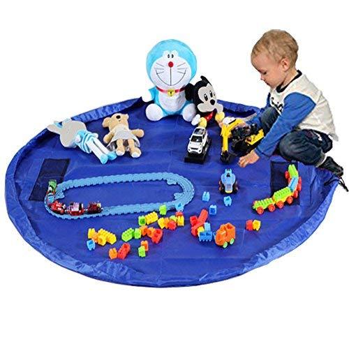 TBoonor Kinder Aufräumsack Spieldecke Spielzeug Speicher Tasche Aufbewahrung Beutel Spielzeugaufbewahrung XL (Blau)