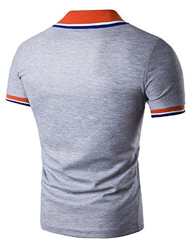 Boom Fashion Herren Poloshirt Beiläufig Kurzarm Stehkragen M - XXL Grau ...