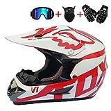 Casque Moto Cross Adulte, Blanc et Rouge, Goggle, Gants Moto, Masque, Casque Integral...