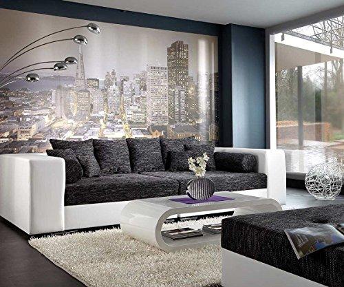 DELIFE XXL-Sofa Marlen Schwarz Weiss 300×140 inklusive Hocker Bigsofa