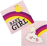 Neu: 12 Servietten * Schnuller-Alarm - Rosa * für Einen Süßen Kindergeburtstag   Party Baby Girl Mädchen Geburt Kinder Geburtstag Einweg Napkins Motto Pink
