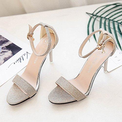 RUGAI-UE Semplice sandali Donna Scarpe High-Heeled Golden