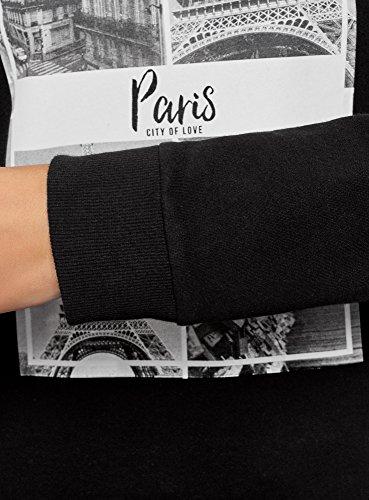 oodji Ultra Femme Sweat-Shirt Basique en Coton Noir (2910N)