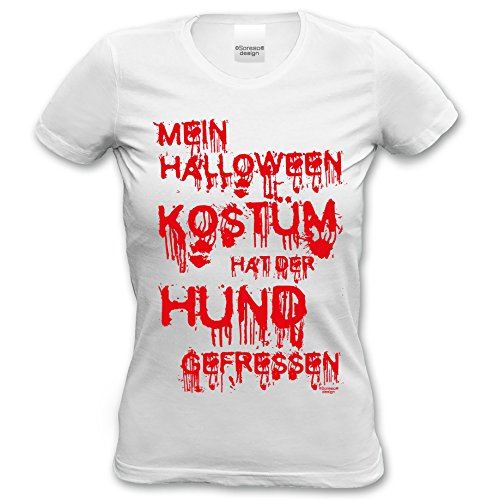 Halloween Damen T-Shirt witziger Kostüm Ersatz für Frauen Mein Halloween Kostüm hat der Hund gefressen Farbe: Weiss Gr: M