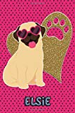 Pug Life Elsie - College Ruled   Composition Book   Diary   Lined Journal   Green