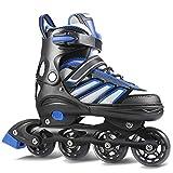 WeSkate Inline Skates Kinder/Erwachsene verstellbar mädchen/Jungen Inline Skates Rollschuhe PU Verschleißfeste Roller Skates Herren/Damen (Blau-Schwarz, 39-42)
