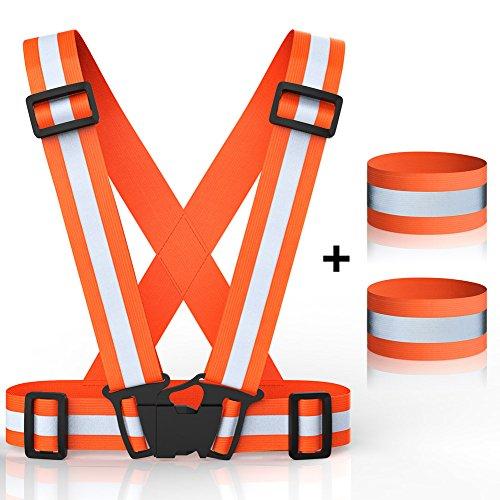 Réfléchissant Gilet de sécurité, brassards de gilet de sécurité Bandes de cheville Haute visibilité Réglable ceinture Set léger Portable pour coureur Running, équitation, vélo, marche, jogging - Orange