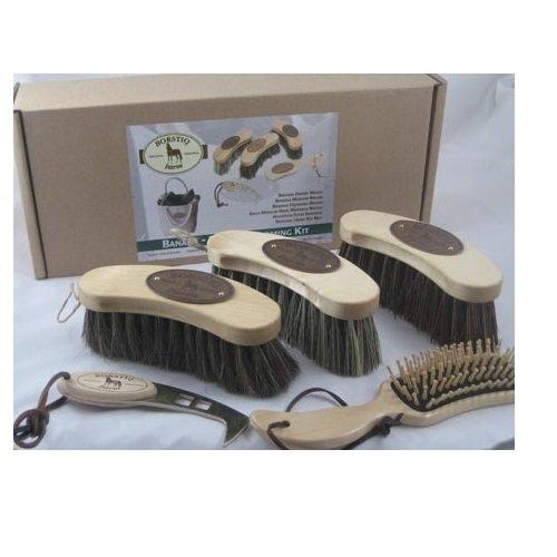 Bortiq-Banana-Horse-Grooming-5-Piece-Brush-Kit-White