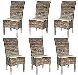 LioLiving®, 6er Set Esszimmerstühle aus Rattangeflecht in grau/White-Washed mit Sitzkissen (#800171)