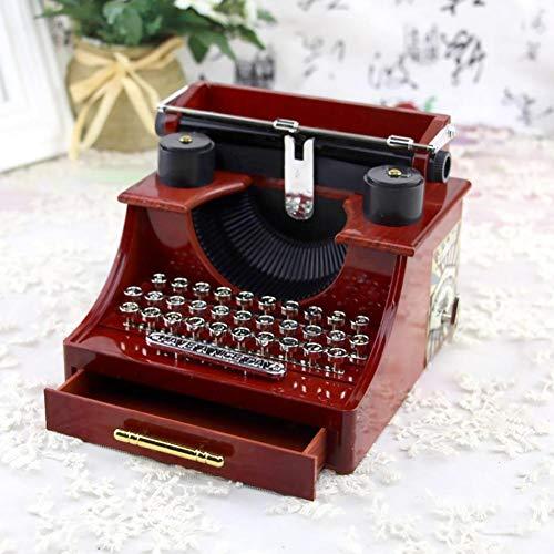 Vintage Musik Box Spieluhr, Retro Schreibmaschine Form Handkurbel Mechanische Spieluhr mit Mini Schublade, Ideales Geschenk für Familie/Büro/Studie Dekoration