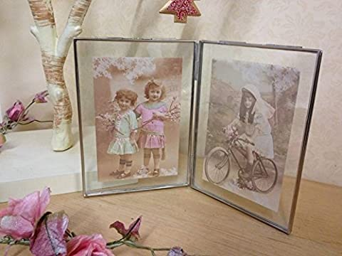 Double Glass & Silver Metal Photo Picture Frame Vintage Chic Ornate Free Standing 6 X 4