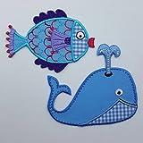TrickyBoo Fisch 8X6Cm Wal 8X8Cm Aufbügler Aufnäher Bügelbild Bügelmotiv Stoff Kleid Patch Applikation Aufbügeln Personalisieren Kind