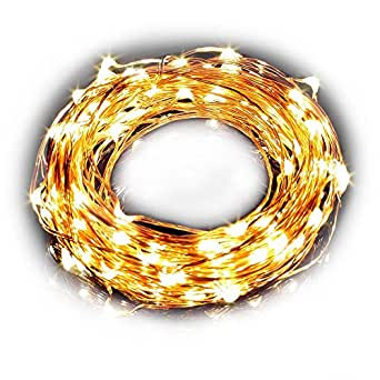 LE® rame Luci Wire, 10m impermeabile 100 LED Starry Luci String, calda bianca di rame LED Corde, stellate luci a LED, DšŠcor luci corda per Natale decorativo vacanze Wedding Parties