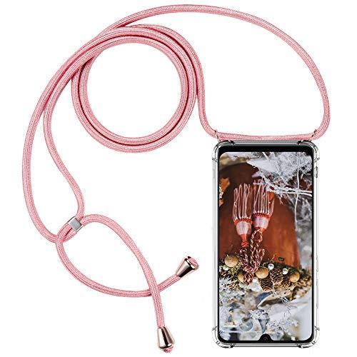 CLM-Tech Carcasa con Cuerda para Colgar Compatible con Xiaomi Mi 9 - Funda Silicona Transparente con Cordon para Llevar en el Cuello, Rosa