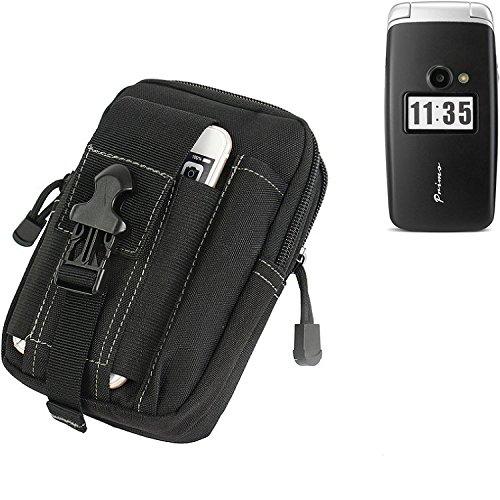 K-S-Trade Gürtel Tasche für Doro Primo 413 Gürteltasche Schutzhülle Handy Hülle Smartphone Outdoor Handyhülle schwarz Zusatzfächer
