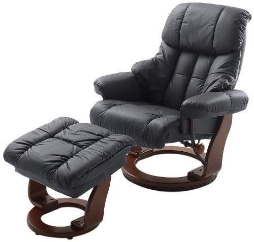 Robas Lund Relaxsessel Calgary mit Hocker Leder schwarz 90 x 91-122 x 89-104 cm 64023SK5
