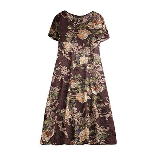 Ulanda-EU Damen Kleid Kurzarm Baumwolle Leinen Casual Kleider Frauen Lose Bluse Drcken Kleid Shirtkleid Freizeitkleid Strandkleider Brown Spaghetti Strap