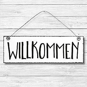 Willkommen - Dekoschild Türschild Wandschild aus Holz 10x30cm - Holzdeko Holzbild Deko Schild