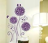 ufengke® Lila Blumen Schmetterlinge Wandsticker, Wohnzimmer Schlafzimmer Entfernbare Wandtattoos Wandbilder