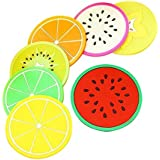 Okayji Silicone Coasters Colorful Fruit Slices Theme for Coffee and Wine Lovers, Multicolour, 7-Pieces