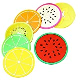 #1: Okayji Silicone Coasters Colorful Fruit Slices Theme for Coffee and Wine Lovers, Multicolour, 7-Pieces