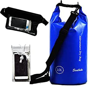 Sealhike Waterproof 3pcs Dry Compression Sack Set- Dry Bag, Waist Pouch& Waterproof Phone Bag for Outdoor Kayaking, Fishing, Hiking, Cycling, Camping, Boating, Swimming, Snorkeling and Diving (blue)