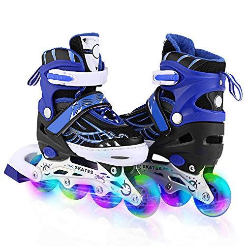 Kinder Erwachsene Inline Skates & Kinder Schlittschuh Rollerblades Mit Leucht PU Räder| Größe Verstellbar 31-42 (Blau, EU 35-38)