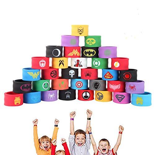 JunYito® Superhelden Schnappbänder 33 Stück Superhelden Armbänder für Kinder Jungen Mädchen Geburtstagsparty Halloween Karneval Weihnachten Geschenke (33 Stück Schnappbänder)