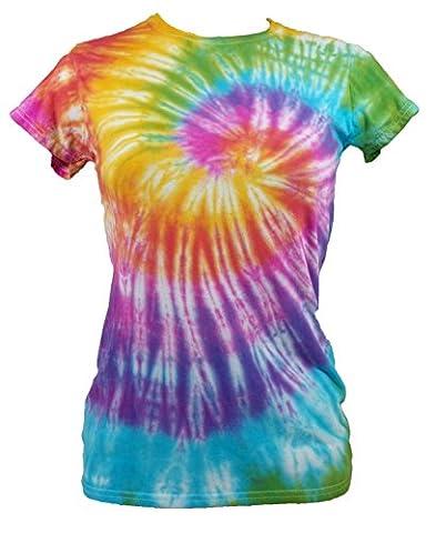 Tie Dye Womens Rainbow Spiral T-shirt 702251 Ladies T-Shirt (XL)
