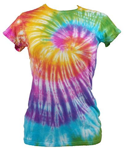 Tie Dye Womens Rainbow Spiral T-shirt 702251 Damen Ladies T-Shirt 005 XL (Dye Tie Damen Shirt)