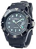 Crell Solar Armbanduhr: SOLAR-betriebene Quarz-Uhr mit Silikonarmband, schwarz (Silikon Armbanduhr mit Solar)