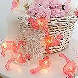 Yuany Fiabe Impermeabili a Batteria Leggera con 1M 10 LED Caldi Caldi Flamingo Rosa